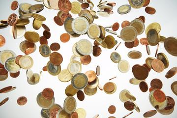 Geldmünzen, Euromünzen, Regen 2