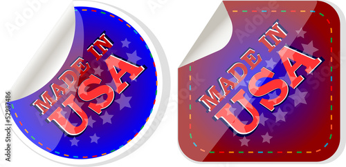 Made in the USA icon label stickers set