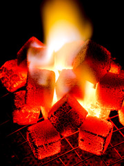 live coal and flame of coconut shell charcoal briquette