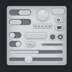 Set of gray ui web elements - sliders, switch, buttons etc.