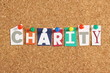 The word Charity on a Cork Notice Board