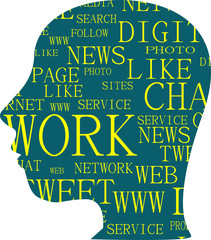 silhouette head with the words social networking