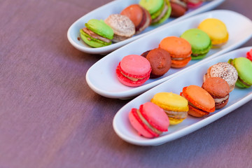 Colorful macaron on the plate