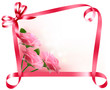 Holiday background. Colorful flowers with pink bow and ribbon. V