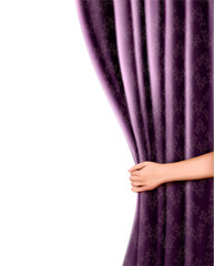 Background with violet velvet curtain and hand. Vector illustrat