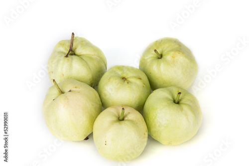 Whole single guava without Limb on white background