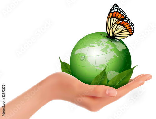 Green world with leaf and butterfly in woman hand. Vector illust