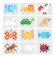 Set of vector mosaic sketch animals