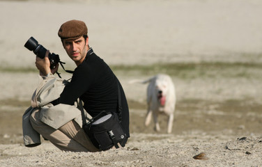 photographer with his dog