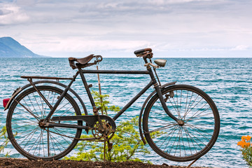 Old bicycle adorn the promenade in Montreux