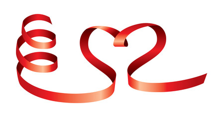 Vector satin hearts of red ribbons on white background