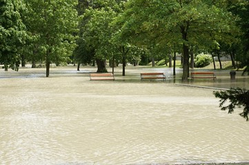 Flood, on Danube river in Bratislava, bench in water