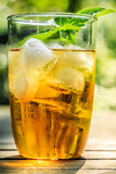 Glass of iced tea with ice-cubes and mint leaves, close-up
