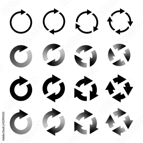 Rotating Arrows Set. Refresh, Reload, Recycle Sign. Vector Illus