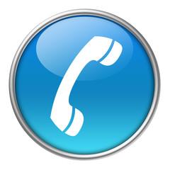 Bottone vetro cornetta telefono