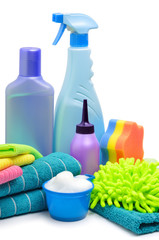 Cleaning supplies, sponge, microfibre, towels, napkins