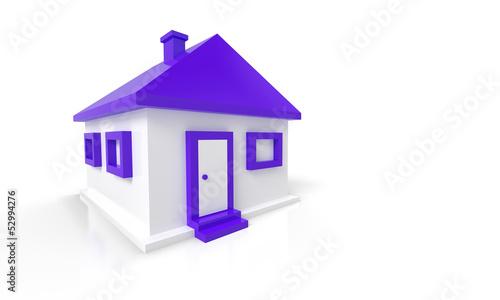 3D Haus Rot Violett