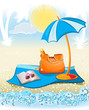 summer holiday background with palm,umbrella
