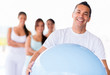 Man with a Pilates ball