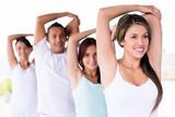 Yoga people stretching