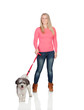 Attractive woman sticking out walking his dog