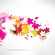 Abstract background with splash and flowers