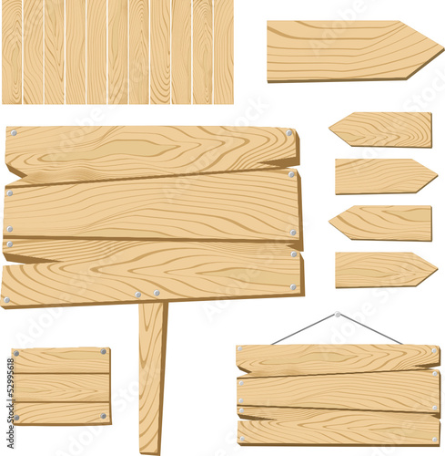 wooden sign board vector collection