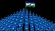 pyramid of men with rippling Lesotho flag animation