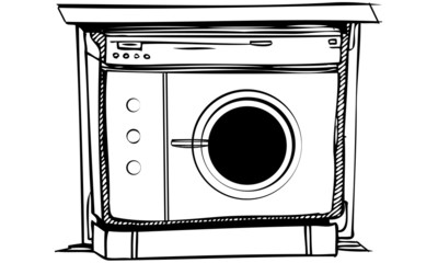 Isolated Vector Illustration of Laundry Washing Machine