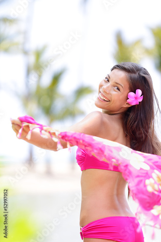 Natural beauty ethnic woman happy on beach