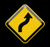 Yellow traffic sign curved warning - 52997407