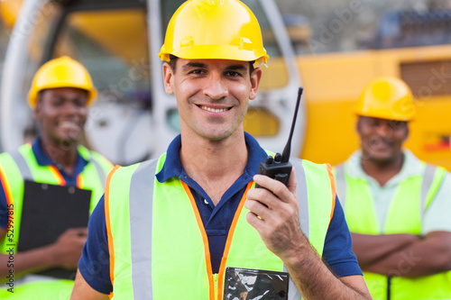 contractor with walkie-talkie
