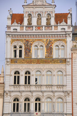 Hausfassade in Pilsen, Tschechische Republik