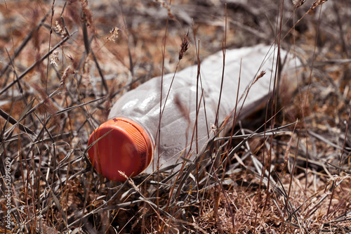 plastic bottle in the grass like garbage