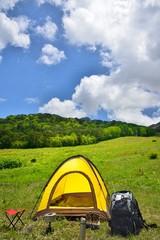 緑の草原とテントキャンプ