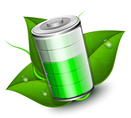 Battery with green leaf - eco energy concept, vector illustratio