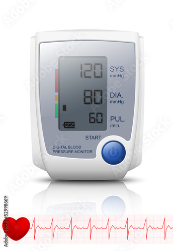 Digital Blood Pressure Monitor with reflection, Vector Illustrat