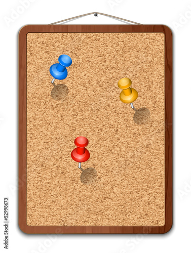 Blank cork board with thumbtacks