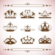 silhouettes Vector set of crown 0031