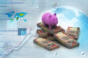 piggy bank and currency in digital design.
