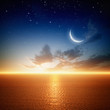 Beautiful sunset with moon