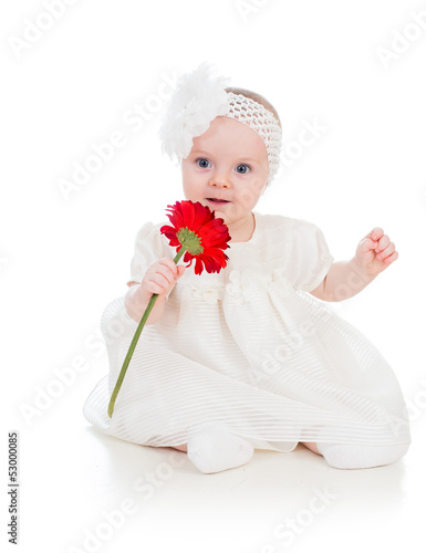 baby girl with flower gift