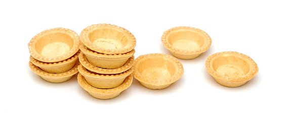empty tartlets isolated on white
