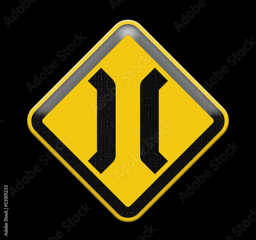 The Narrow Bridge sign isolated on white background