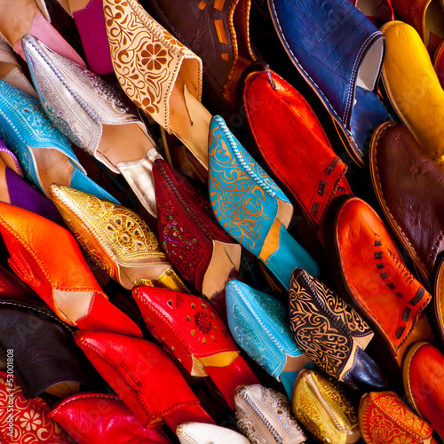 Morocco crafts: Colorful leather shoes.