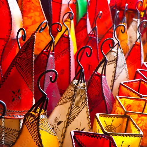 Morocco crafts: Colorful leather lamps.