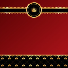 Vintage red background with golden ornamental ribbon, damask and