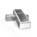 Two Silver Bars on white background