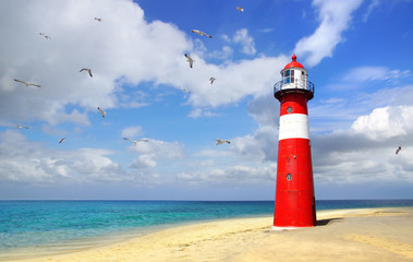 Lighthouse with flying seagulls. Westkapelle