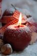 runde Kerze mit Puderschnee